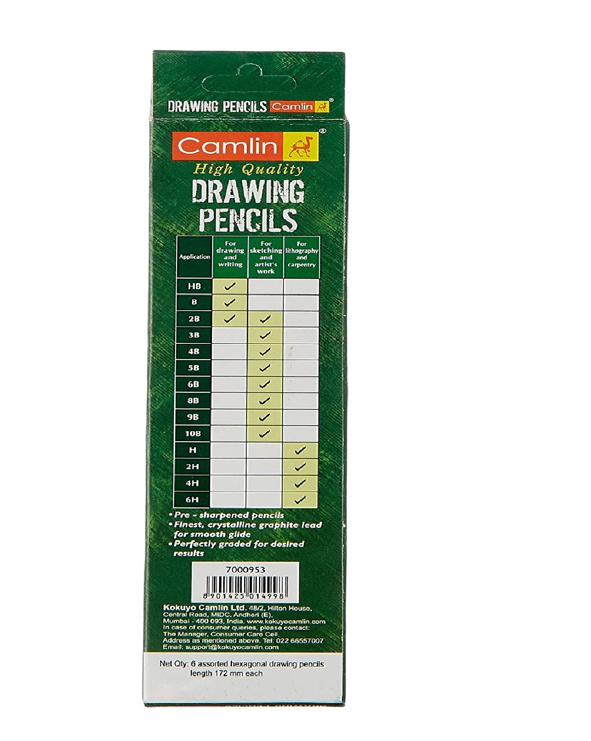 Camlin Kokuyo Drawing Pencil - Pack of 6