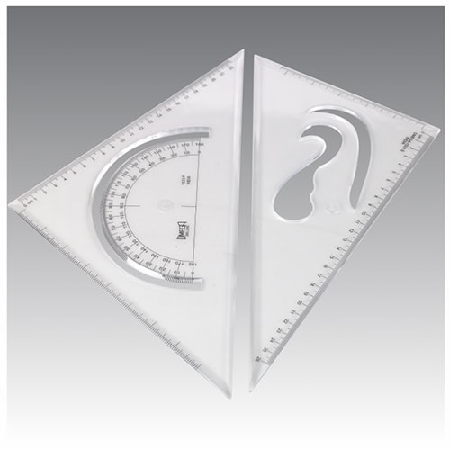 Omega Set Squares WIth Protractor Medium Size - 25cm