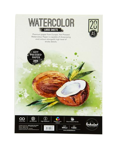 Scholar A5 WATERCOLOUR HOT PRESSED LOOSE SHEETS - 300 GSM (WHL2)