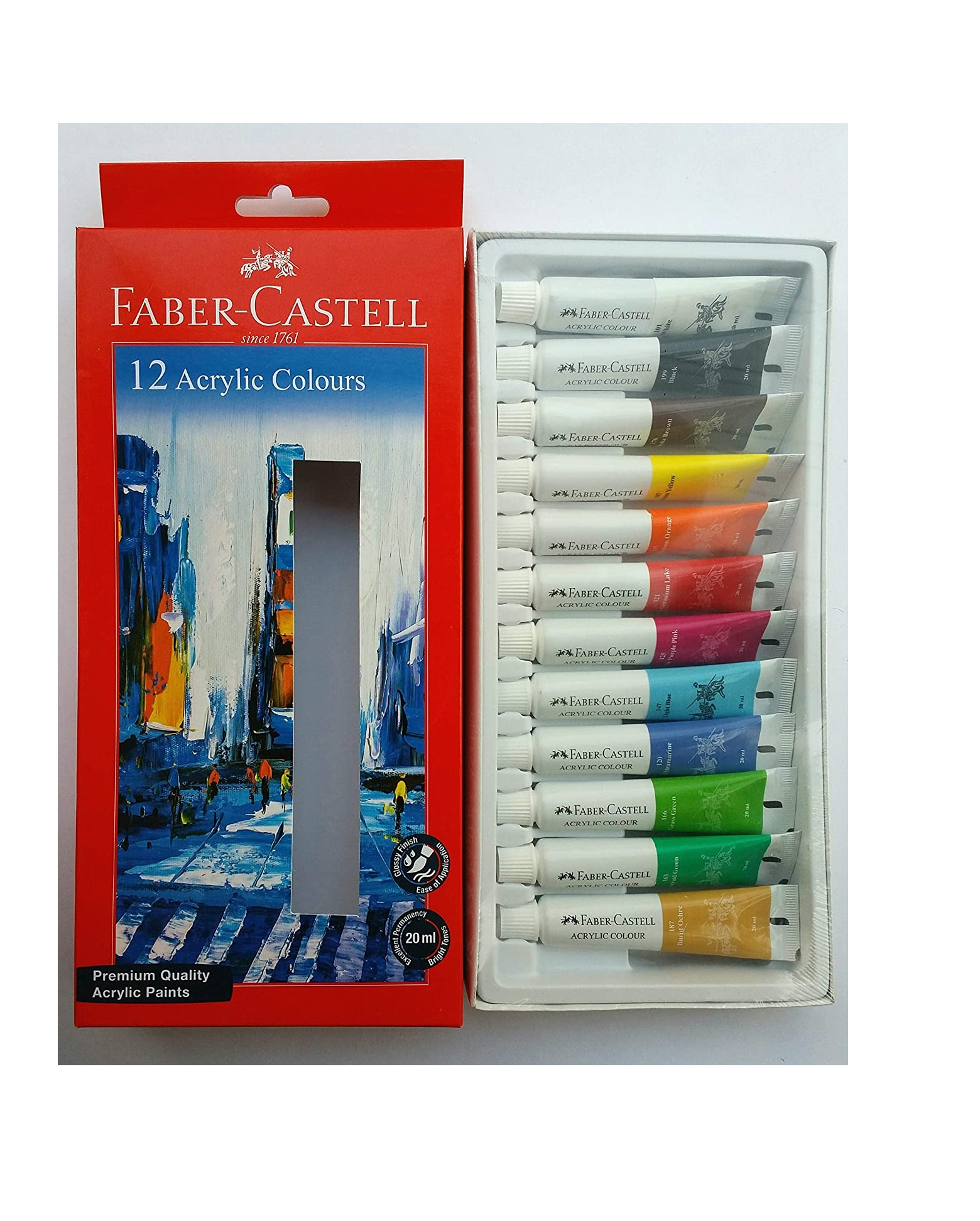 Faber-Castell Premium Acrylic 20ml Colour (Pack of 12)