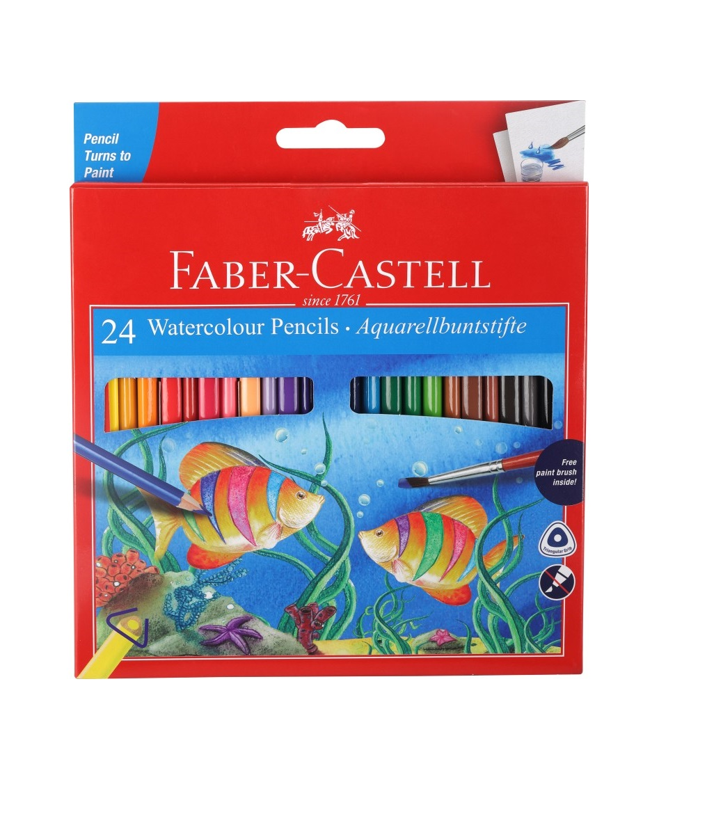 Faber-Castell 24 Water Colour Pencils+ Paint Brush Pencil  (Assorted)
