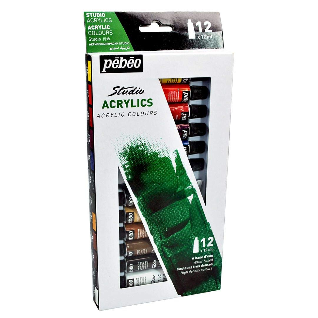Pebeo High Viscosity Studio Acrylics - Set of 12 Colours in 12 ML Tubes