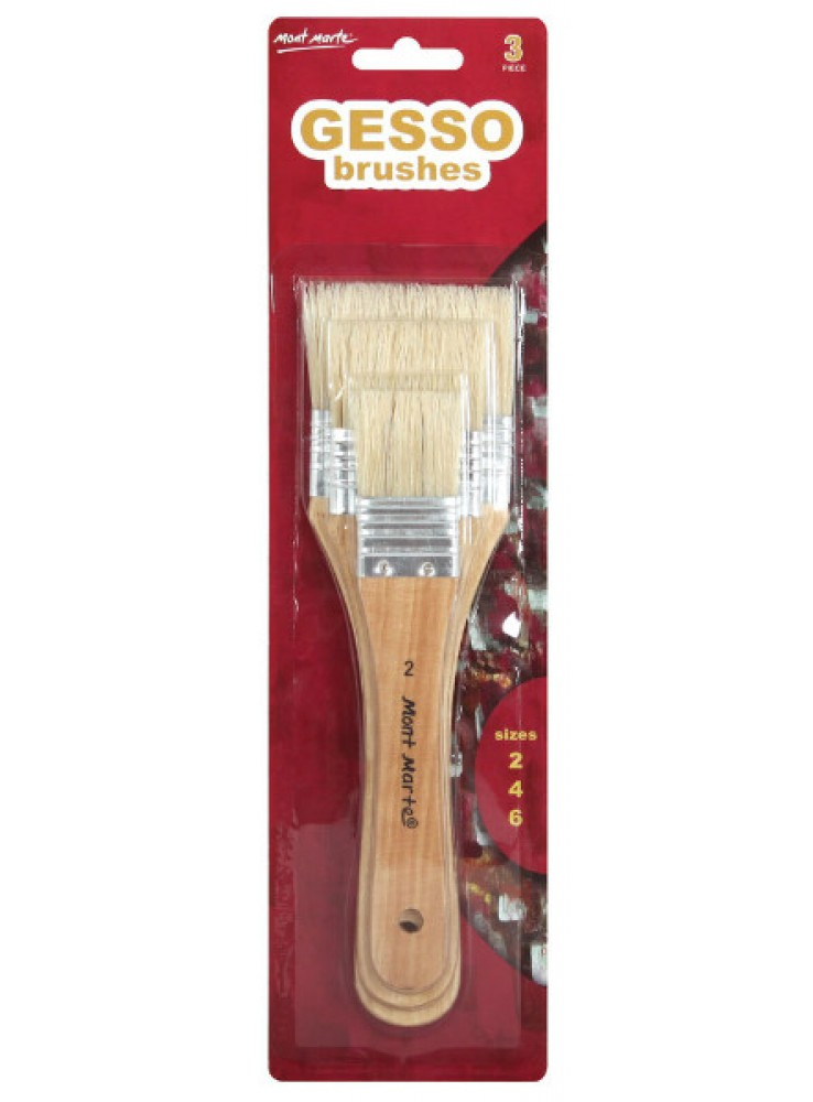Mont Marte Gesso Brushes Sizes 2, 4, 6