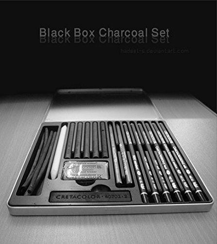Cretacolor Black Box Charcoal Drawing Set of 20 - Tin Box