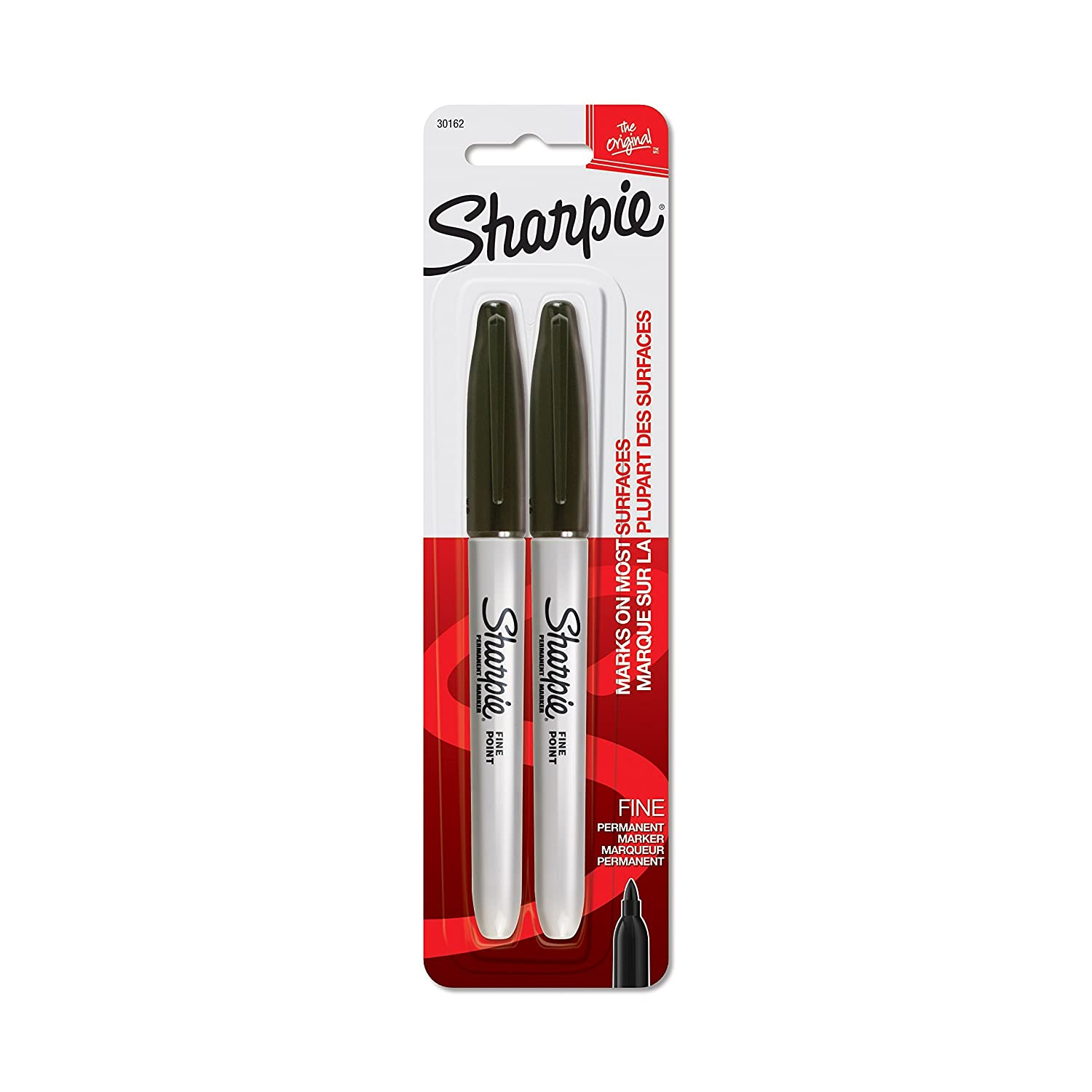 Sharpie Permanent Markers, Fine Point, Black, 2-Count