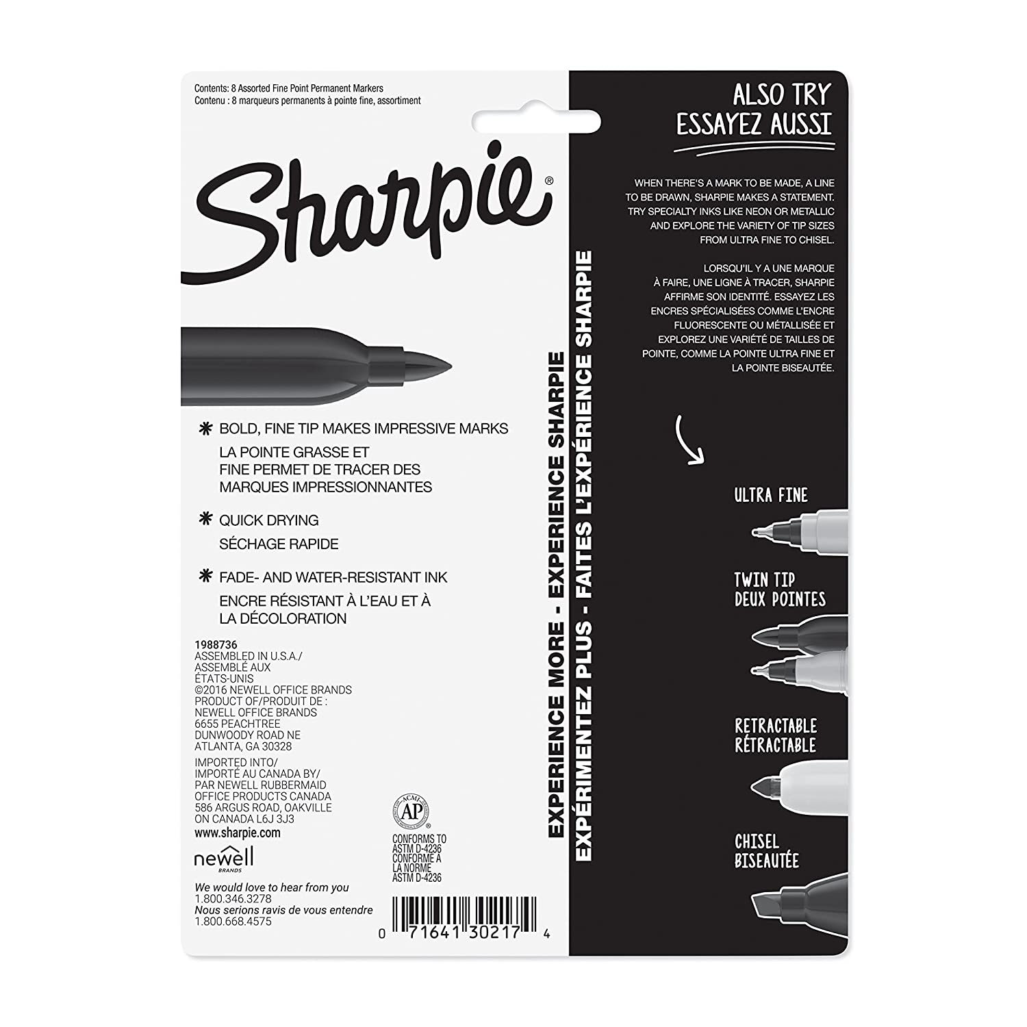 Sharpie Permanent Markers, Fine Point, 8 Pack, Assorted Colors
