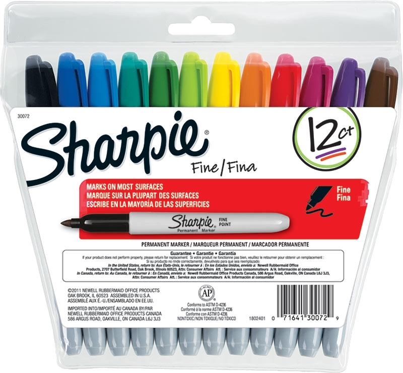 Sharpie Fine Permanent Marker Set of 12 Colours (Assorted)