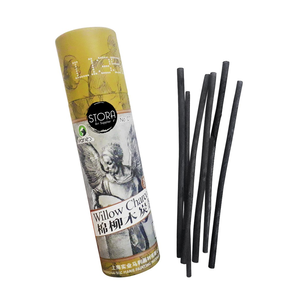 Maries Willow Charcoal 4-5 mm / Rod Tube Charcoal Paper Board+