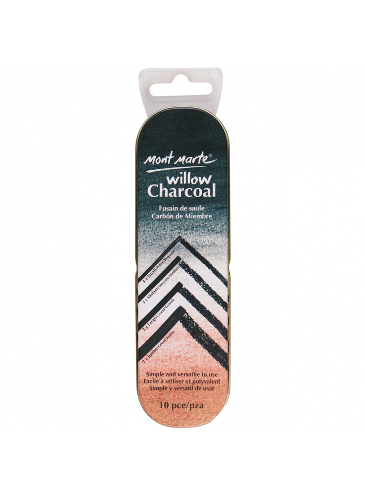 Mont Marte Signature Willow Charcoal in Tin 10pce