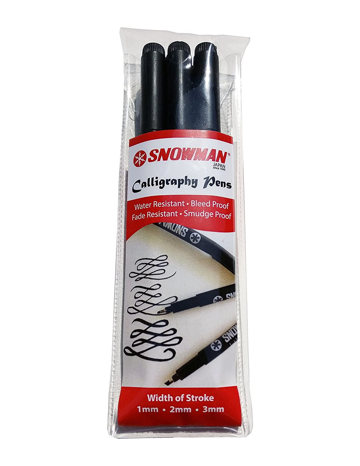 Snowman Calligraphy Pens - Set of 3 - Black (1.0, 2.0 & 3.0 mm)