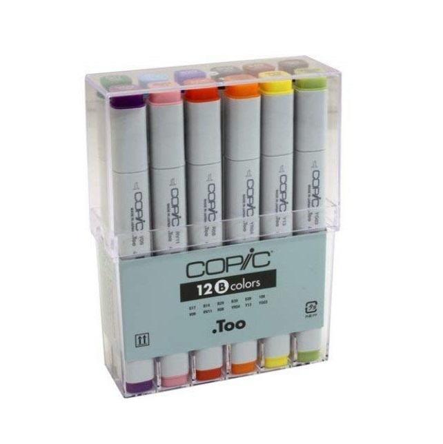 COPIC Basic Colors Marker - Set of 12 Markers (B)