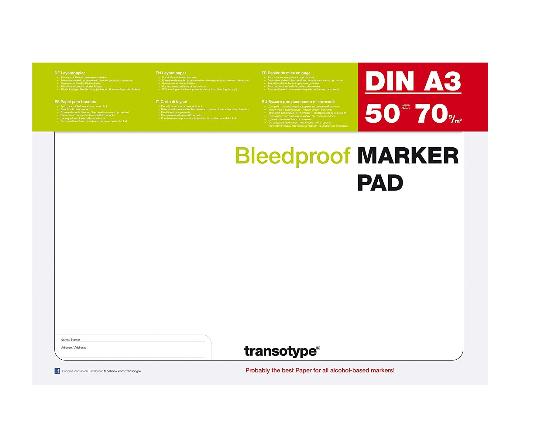 Transotype Bleed Proof Alcohol Marker Pad, A3, 50 Sheets