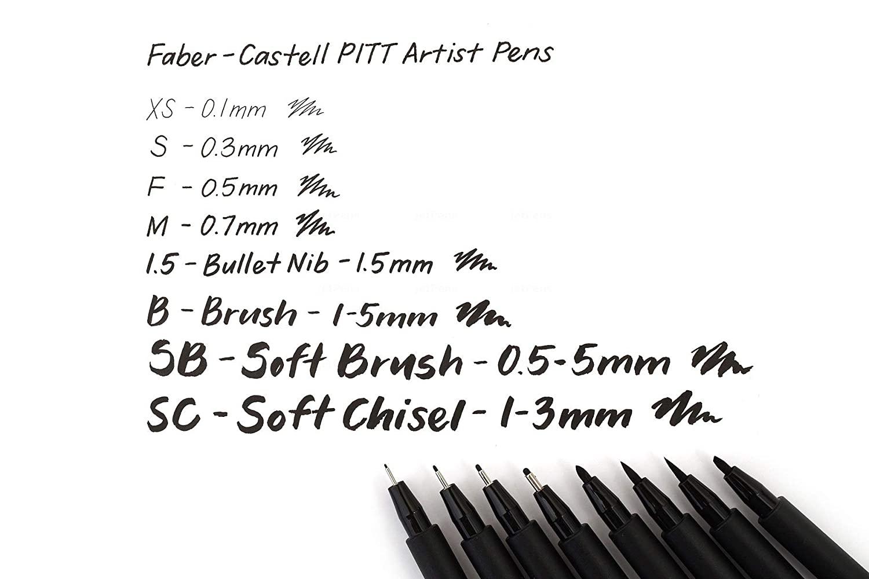 faber castell 8 Pitt Artist Pens, Black