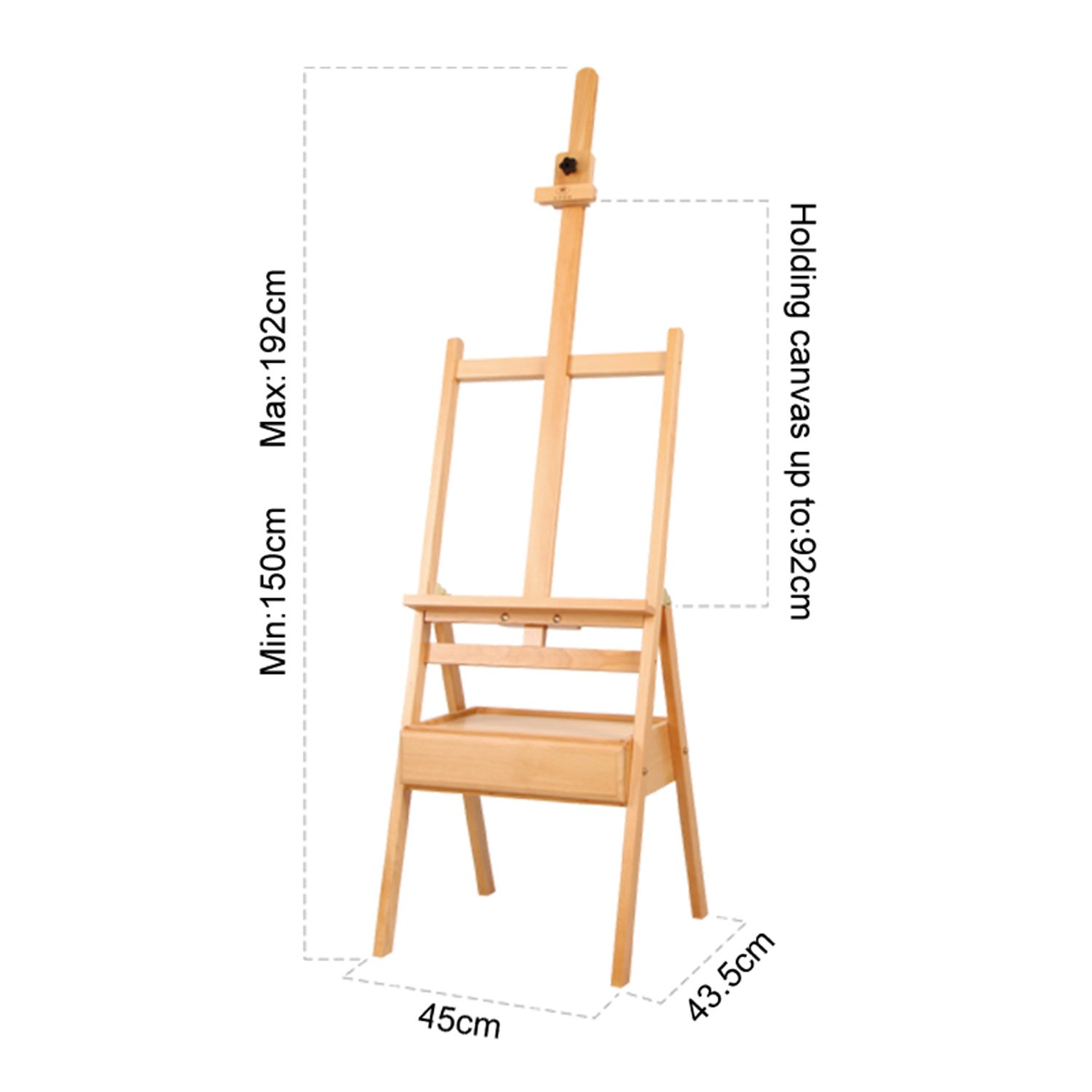 Wooden Studio Floor Easel Stand - Adjustable H-Frame Beachwood Artist/Painting Floor Easel Set with
