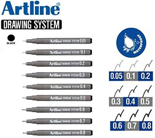Artline Architect Grade Drawing Pens Technical Fineliner (Black) - Pack 9