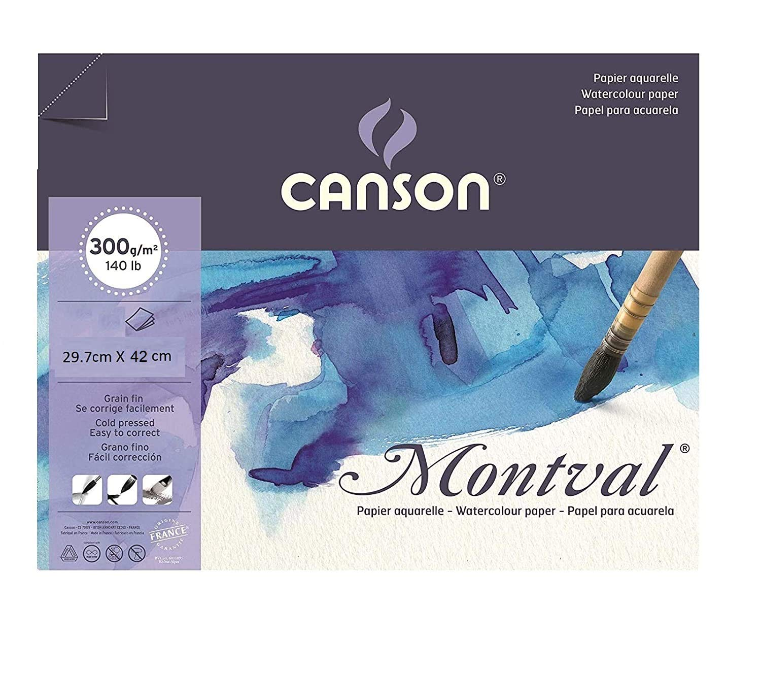 Canson Montval 300 GSM A3 Pack of 5 Fine Grain Sheets