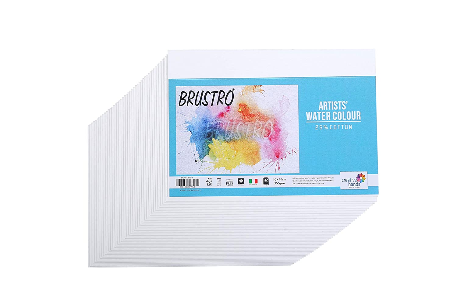 Brustro Artists' Watercolour Paper 25% Cold Pressed 300 GSM -50 Sheets. Size 10 cm X 14 cm