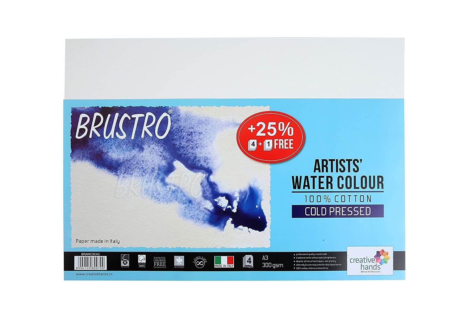 Brustro 100% Cotton Artists' Watercolour Paper 300 GSM Cold Pressed A3