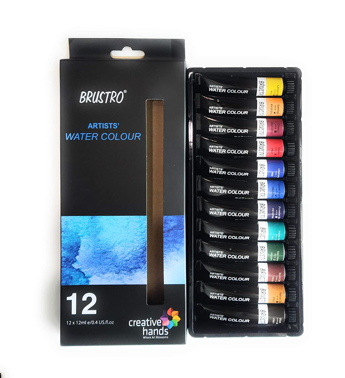 BRUSTRO Artists Watercolour Set of 12 Colours X 12ML Tubes