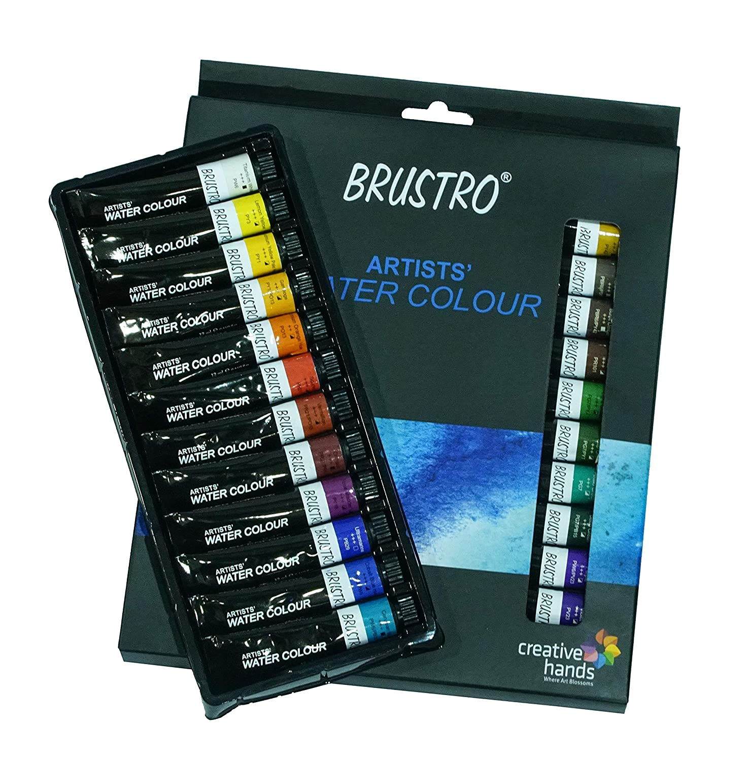 BRUSTRO Artists Watercolour Set of 24 Colours X 12ML Tubes