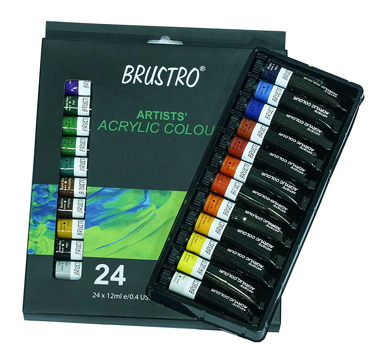 BRUSTRO Artists Acrylic Colour Set of 24 Colours X 12ML Tubes