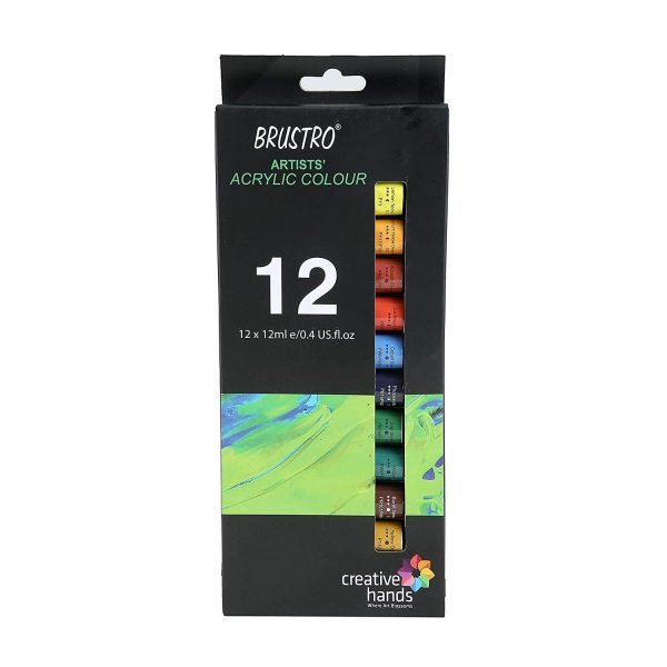BRUSTRO Artists Acrylic Colour Set of 12 Colours X 12ML Tubes