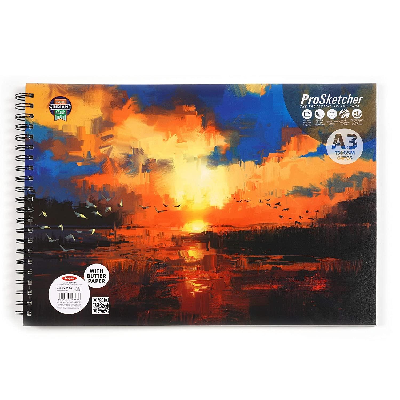 ANUPAM A3 - PRO-Sketcher Sketch Book 130 GSM,64 Pages