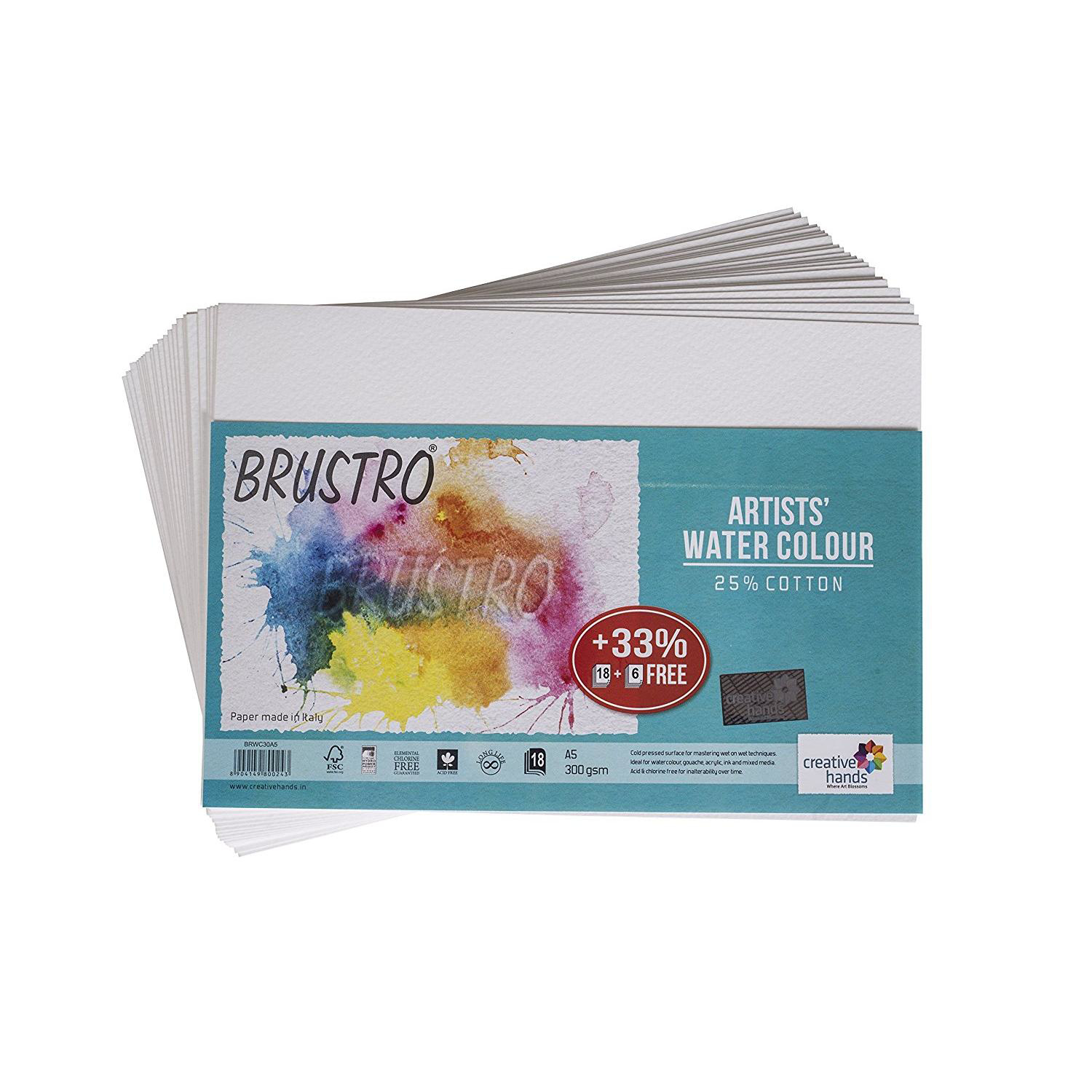 Brustro Artists' Watercolour Paper 300 GSM A5 - 25% cotton (18+6 Sheets)