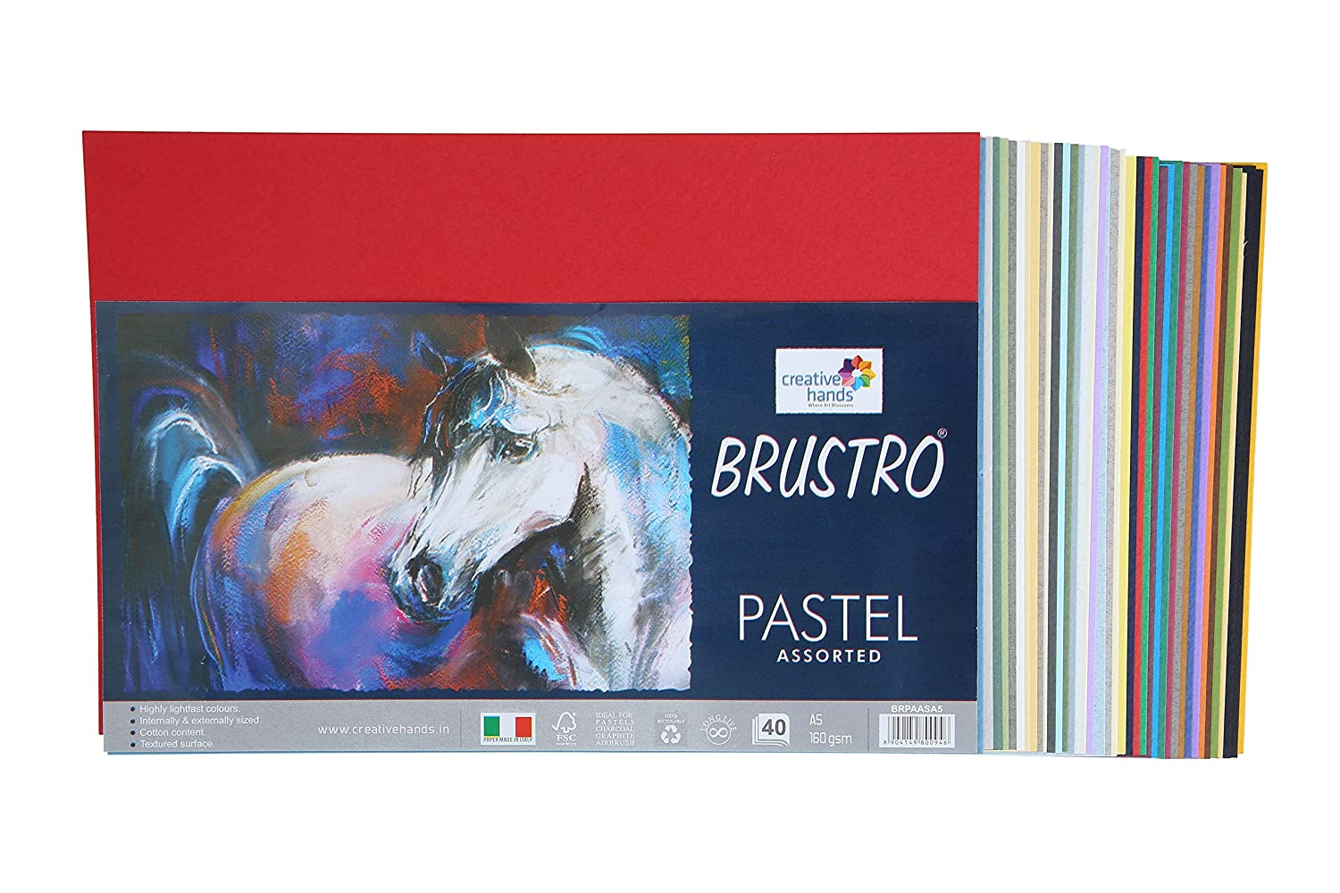 Brustro Artist's Pastel Papers 160 GSM A5 Bright & Soft Shades Assorted (40 Sheets)