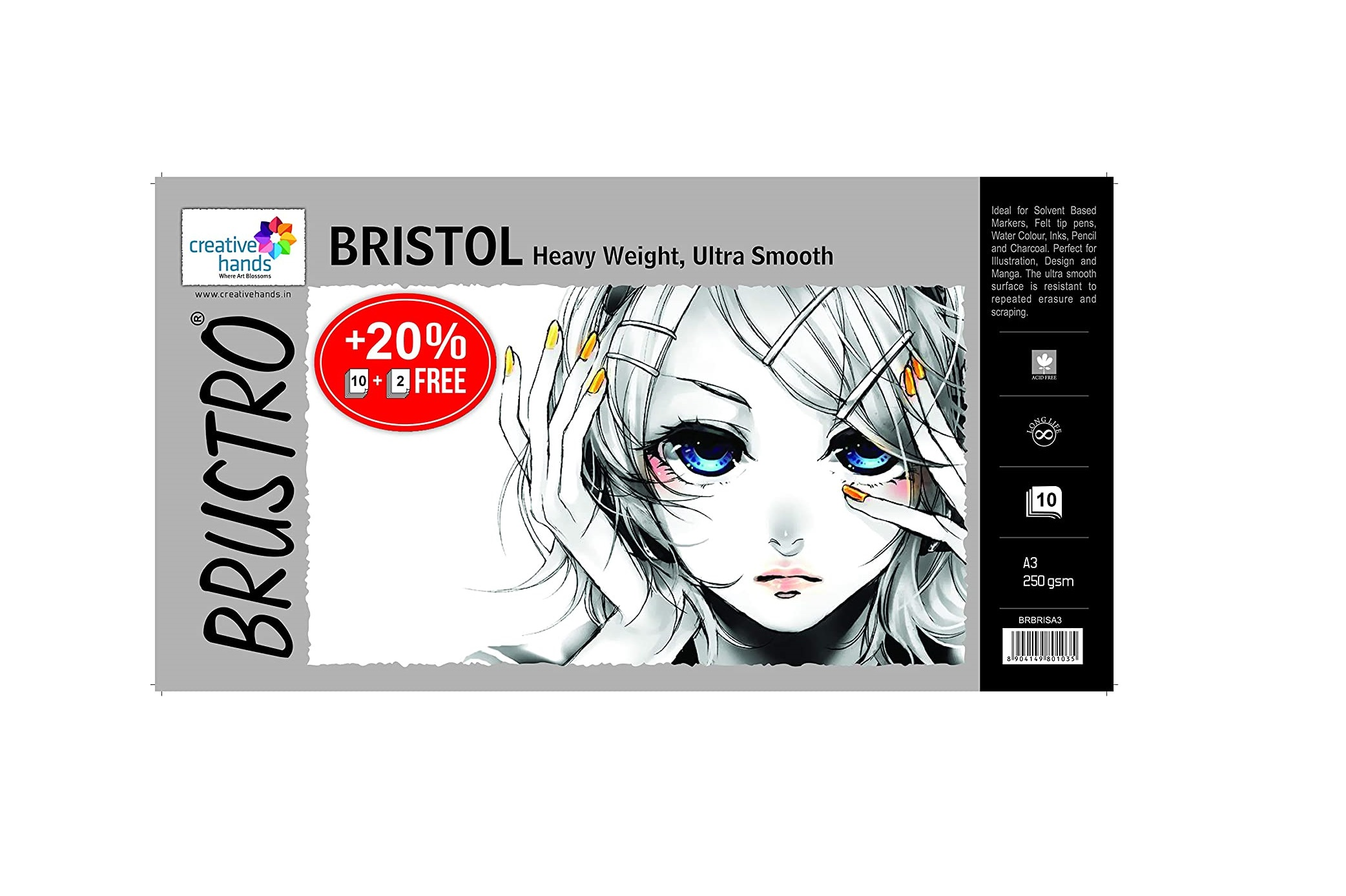 Brustro Ultra Smooth Bristol A3 Size Sheets, 250 GSM (Pack of 10 + 2 Free Sheets)
