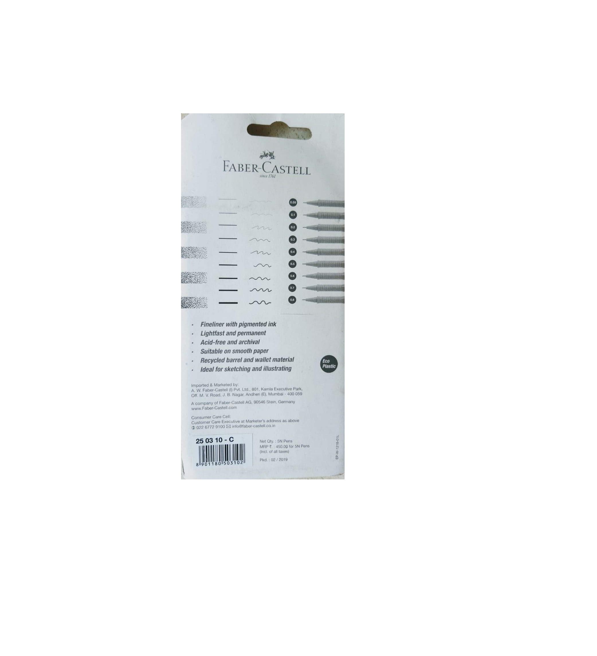 Faber Castell Ecco Pigment Fibre Tip Pen (0.1/0.1/0.1/0.1/0.6) Set C