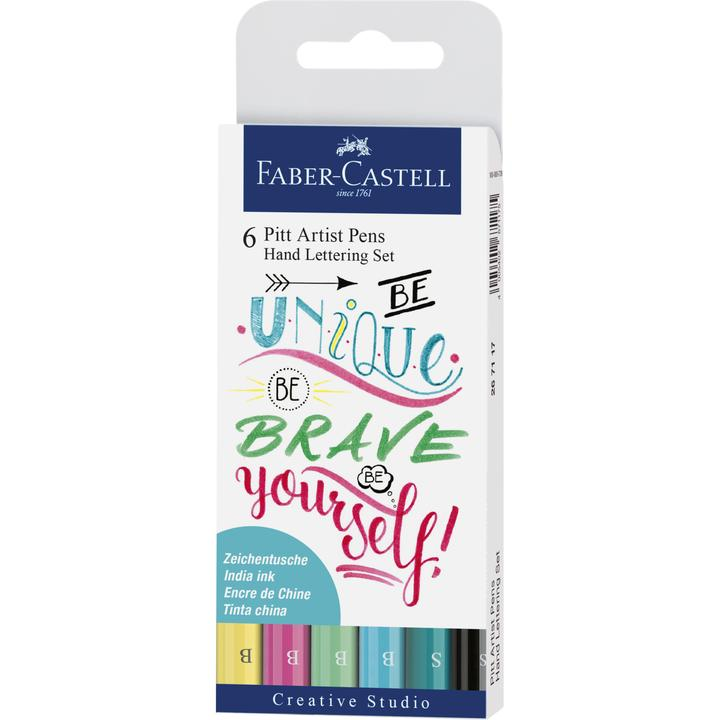 Faber-Castell Hand Lettering Pitt Artist Pen Set - Pack of 6 (Green)