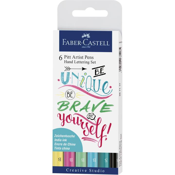 Faber-Castell Hand Lettering Pitt Artist Pen Set - Pack of 6 (Green)