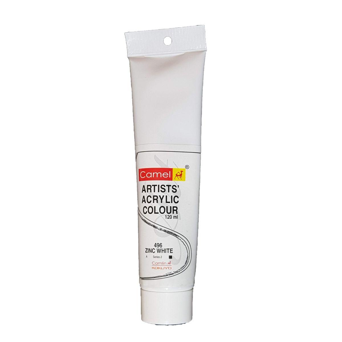 Camlin Artist Acrylic Colour 120ml  Zinc White 496